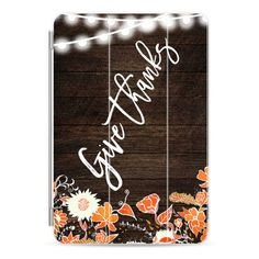 Modern rustic give thanks typography brown wood hand drawn floral... ($45) ❤ liked on Polyvore featuring accessories, tech accessories, ipad cover / case, apple ipad case, wood ipad case, ipad cover case, ipad cases and ipad sleeve case