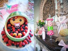 classic pink and green baby shower baby carriage made of fruit watermelon.....because that isn't creepy at all!