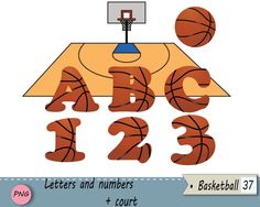 Basketball letters and numbers, Basket clip art,  Card embellishment, Overlay…