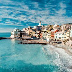 ITALY –  Bogliasco, Liguria. The steepled building is the Church of the Nativity of the Blessed Virgin Mary (Chiesa della Natività di Maria Santissima) on Via Ammiraglio Giovanni Bettolo @ Piazza XXVI Aprile. Bogliasco itself is located just outside of Genoa. https://www.google.ca/maps/place/Chiesa+Parrocchiale+della+Nativita%27+Di+Maria+Santissima/@44.378108,9.0579873,15z/data=!4m5!3m4!1s0x12d35c52cba34381:0x6a6a66d671151312!8m2!3d44.378108!4d9.066742