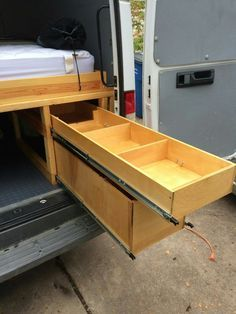 Pull out storage, extra long drawer runners.