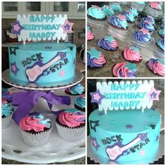 """RockStar 6"""" cake with matching cupcakes 