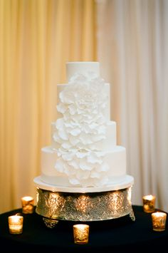 Modern White Wedding Cake   photography by http://www.tamaragruner.com