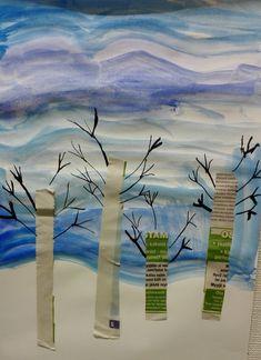 Vesiväreillä ja sanomalehdestä saadaan tehtyä kauniita talvimaisemia. Sinisen sävyistä maalataan ensin taivas ja jätetään lumihanki valkois...