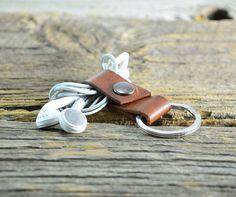 Leather Ear Bud Holder / Keychain by tahoemade, leather keychain - Brown Dye - Gun Metal Snap - Silver Split Ring Made from high quality veg tanned