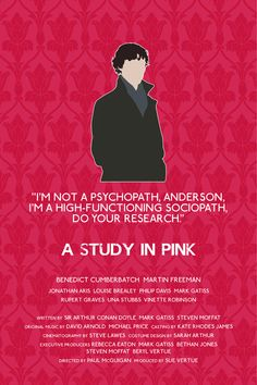 A Study In Pink alternative television poster - 12 x 18 Sherlock edition (Made to order). £10.00, via Etsy.