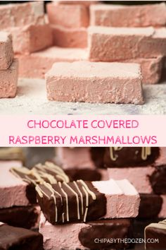 Chocolate Covered Raspberry Marshmallows - Chipa by the Dozen Hot Fudge Cake, Hot Chocolate Fudge, Chocolate Covered, Raspberry Chocolate, Chocolate Tarts, Fudge Recipes, Candy Recipes, Dessert Recipes, Recipes With Marshmallows