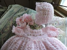 Hey, I found this really awesome Etsy listing at https://www.etsy.com/listing/473386639/crochet-newborn-dress-bonnet-booties-set
