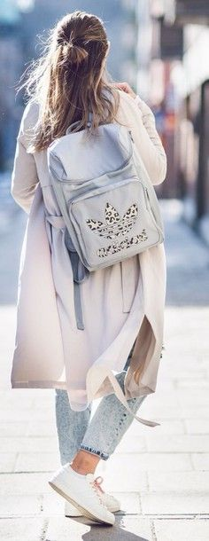 bag adidas bagback backpack back to school blue jeans jeans leopard print sportswear sporty chic athleisure