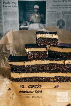 Vegan Nanaimo Bars - Chocolate cookie crust, custard filling, chocolate ganache icing.