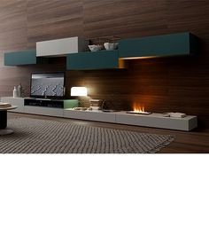 floating entertainment center with fireplace
