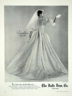 1956 Ad Vintage Marie of Pandora Wedding Dress Bride Bridal ...