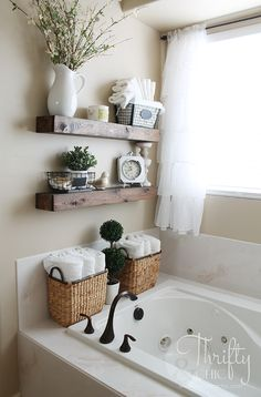 """DIY Floating Shelves and Bathroom Update Great way to deal With that weird space! """"DIY Floating Shelves just like the ones from Fixer Upper! Make 2 of these for…"""" The post DIY Floating Shelves and Bathroom Update appeared first on Welcome! Cheap Home Decor, Diy Home Decor, Ranch Home Decor, Decoration Home, Inexpensive Home Decor, Thrifty Decor, Tv Decor, Entryway Decor, Office Decor"""