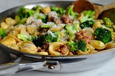 Orecchiete with sausage and broccoli. Really delicious, easy, one pan meal. Both my kids finished their plates.