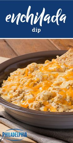 Enchilada Dip – Here's everything you enjoy about cheesy, chile-spiked chicken enchiladas, all in one tasty dip! Ready in just over 30 minutes, this appetizer recipe has it all.