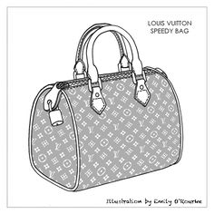 LOUIS VUITTON - SPEEDY BAG - Designer Handbag Illustration / Sketch / Drawing / CAD / Borsa Disegno