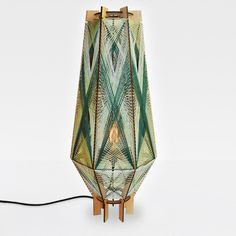 Andromeda Aero floor lamp the Forest color way. Sculptural mid-century modern inspired lighting