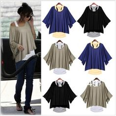 NEW 2 in 1 Ladies HOT Loose 3/4 Batwing Sleeve Off the Shoulder Top Vest T Shirt