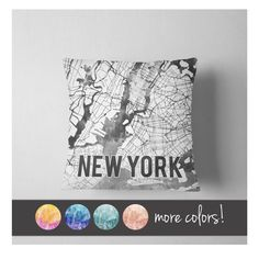 Watercolor New York City map throw pillow New York City Map, New York City Apartment, Euro Shams, Floor Cushions, Pillow Inserts, Vibrant Colors, Throw Pillows, Texture, Watercolor City