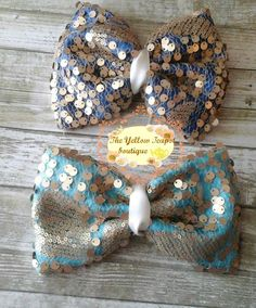 Gold SEQUENCE  large bows by YellowTeapotBoutique on Etsy