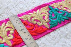 1 Yard Wide Magenta Silk Fabric Embroidered Trim-Silk Sari Border-Paisley Vine Design-Purple Silk Fabric Trim-Silk Ribbon By The Yard