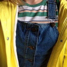 5th May 2016 - Denim overalls, paired with crew t-shirt and yellow jacket. Crew top looks like cotton.