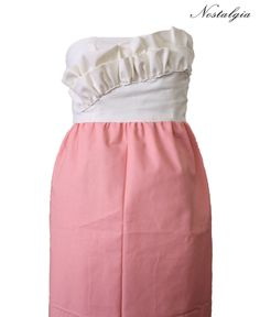 Two Tone Haute Couture Bridesmaid dress in Cream and Coral. $150.00, via Etsy.