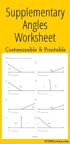 Supplementary Angles Worksheet - Customizable and Printable