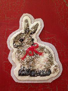 Knitionary: Mr. Bunny How to finish needlepoint ornaments.