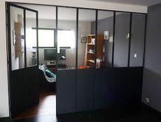 Cloison séparation cuisine salon coulissante type atelier d ...
