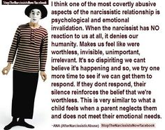 When the Narcissist has NO REACTION ... Psychological INVALIDATION ... deadly !