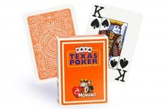 Cartes Modiano Texas Poker (orange) - Pokeo.fr - Jeu de 52 cartes Modiano 100% plastique Texas Poker de couleur orange.