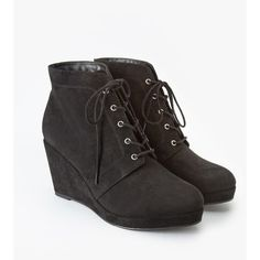 Forever 21 Plus Faux Suede Wedge Booties (Wide) featuring polyvore, fashion, shoes, boots, ankle booties, ankle boots, short boots, wedge ankle boots, high heel boots and platform bootie