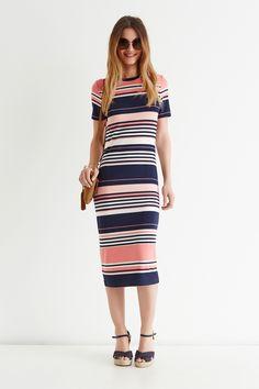 Pink Candy Stripe Tube Midi Dress
