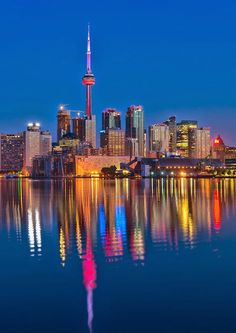 Buy Vibrant Toronto Skyline With Reflection by JamesWheeler on PhotoDune. Reflection of Vibrant Toronto skyline Toronto Skyline, Toronto City, Visitar Canada, Tour Cn, Toronto Pictures, Madrid, Toronto Ontario Canada, Night Pictures, Night City