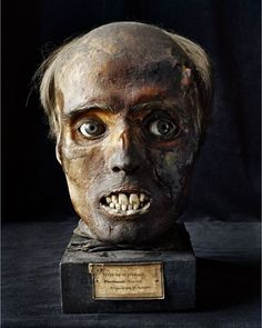 Narcisse Porthault, guillotined to death France. From the book The Dead vol 1 and 2 by Canadian photographer Jack Burman. Bog Body, Art Premier, The Uncanny, Vanitas, Weird World, Skull And Bones, Memento Mori, Archaeology, Les Oeuvres