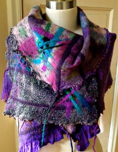 Nuno Felted Shawl on recycled Sari Silk by RainasTextileHouse, $150.00