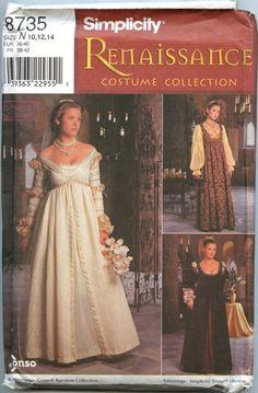 Simplicity 8735 Renaissance Costume Pattern by GreyDogVintage, $12.00