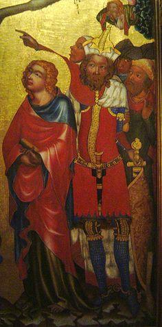 - 'Higher Brod-altarpiece, crucifixion' (Master of the Higher Brod-altarpiece), St. Santa Ines, 1 Maccabees, St Agnes, Central Europe, Medieval Art, Saints, Folk, Religion, Prague Czech