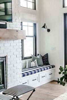 Light-Filled White Modern Farmhouse Living Space - Window Nook - Sita Montgomery Interiors