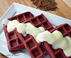 Red Velvet Waffles with White Chocolate Cream Cheese Sauce