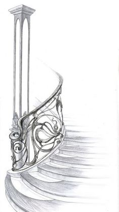 Art Nouveau, Staircase Drawing, Staircase Design, Perspective Drawing Lessons, Modern Japanese Architecture, Jugendstil Design, Architecture Sketchbook, Metal Art Projects, Letterhead Design
