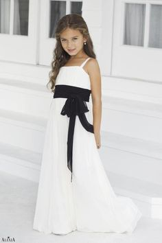 Charmeuse Bow Ruching Straps Style 42 Junior Bridesmaid Dress By Alexia Designs White