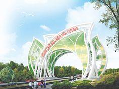 Entrance Signage, Entrance Design, Gate Design, Sign Design, Monumental Architecture, Creative Architecture, Landscape And Urbanism, Landscape Architecture Design, New Window Design