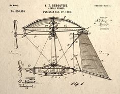 Aerial Vessel Patent Design Drawing Steampunk Wall Art Print