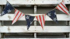 Primitive American Flag Burlap Banner, 4th of July Banner, Flag Banner, USA Banner, Welcome Home Sign, Grungy Primitive USA