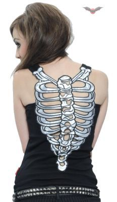 Queen Of Darkness - Black Vest Top with Ribcage Skeleton Back [SH11-339/10] - £23.99 : Gothic Clothing, Gothic Boots & Gothic Jewellery. New Rock Boots, goth clothing & goth jewellery. Goth boots and alternative clothing