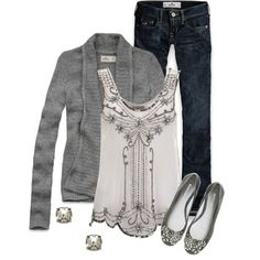 Grey & Glitzy by qtpiekelso on Polyvore featuring Hollister Co., Lipsy, Kate Spade and Vera Wang Lavender Label