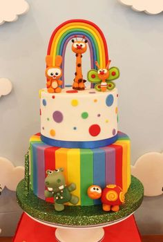 Violeta Glace 's Birthday / Baby TV - Photo Gallery at Catch My Party Rainbow First Birthday, Baby Birthday Cakes, Birthday Party Themes, Gateau Baby Shower, Baby Shower Cakes, Baby Tv Cake, Rainbow Layer Cakes, 1st Birthdays, Themed Cakes