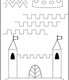 Tracing Worksheets, Preschool Worksheets, Pre Writing, Writing Skills, Castles Topic, Chateau Moyen Age, Educational Games, Kids Prints, Drawing For Kids
